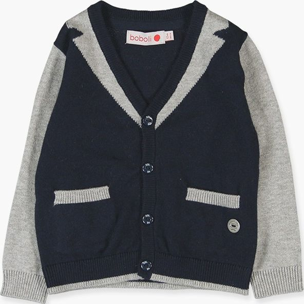 Boboli 17714192-2440 Knitwear jacket for boy combined in colour navy and grey vi