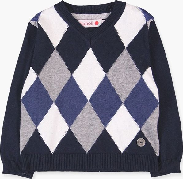 Boboli 17714204-2440 Knitwear pullover for boy with jacquard of rhombuses combin