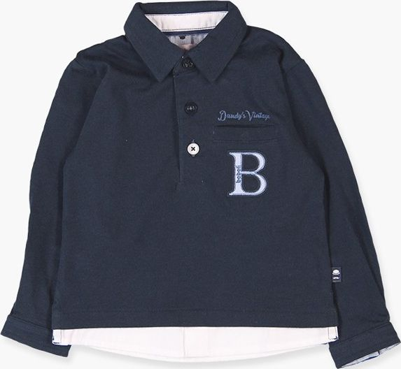 Boboli 17714215-2440 Knit polo combined for boy in colour navy, combined with po