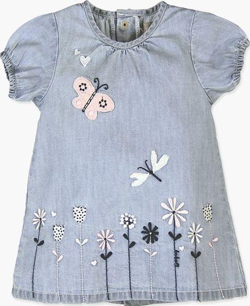 Boboli 27113027-BLEACH Denim dress for baby girl
