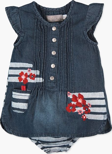 Boboli 27233053-BLUE Denim dress for baby girl