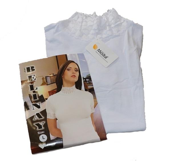3fae86cac561 Dámske tričko s čipkou BELINAY biele