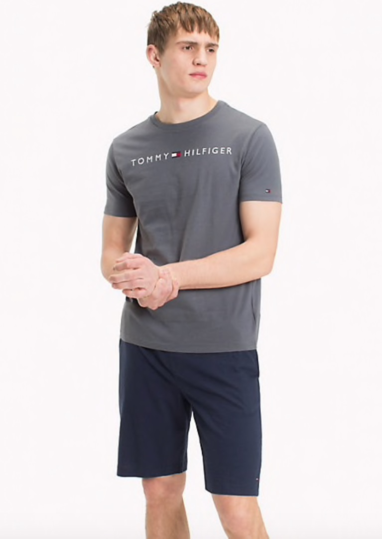Pánsky set Tommy Hilfiger SHORT SET LOGO sivé